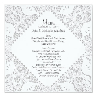 White Doily Look Custom Wedding Menu Card