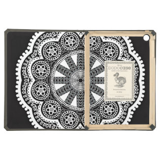 White Doily On A Black Background iPad Air Covers