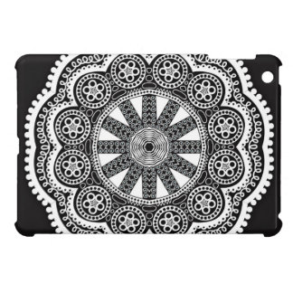 White Doily On A Black Background Case For The iPad Mini