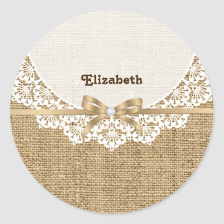 White doily with lace and linen natural burlap classic round sticker