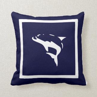 white DOLPHIN  on navy blue pillow