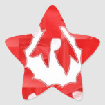 White Dot on Red Silk Patchwork Wreath Star Stickers