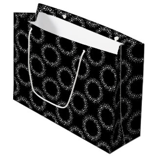 White Dots And Lines On Black Large Gift Bag