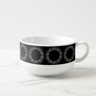White Dots And Lines On Black Soup Mug