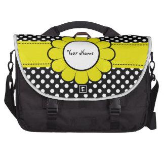 White Dots on Black Yellow Flower Laptop Bags