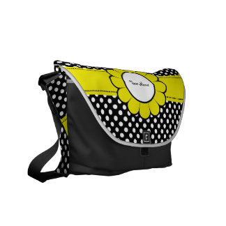 White Dots on Black Yellow Flower Messenger Bags