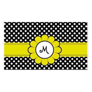 White Dots on Black Yellow Flower Pack Of Standard Business Cards