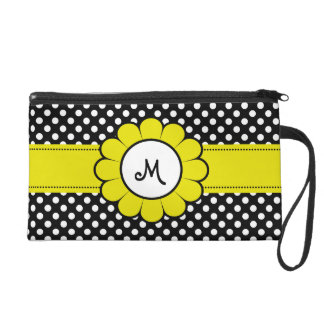 White Dots on Black Yellow Flower Wristlet Clutches