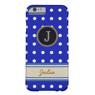 white dots on blue monogram barely there iPhone 6 case
