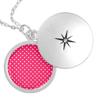 White Dots on Deep Pink Round Locket Necklace