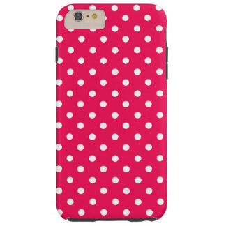 White Dots on Deep Pink Tough iPhone 6 Plus Case