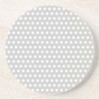 White Dots on Light Grey Drink Coaster