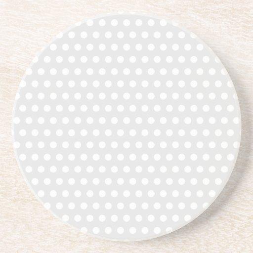 White Dots on Pale Gray Coaster