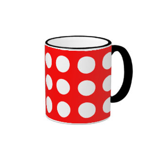 White dots on red, polka dots mugs
