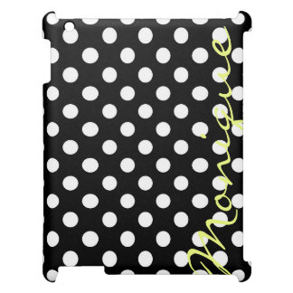 white dots over black personalized by name case for the iPad 2 3 4