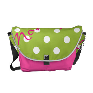 white dots over green spring background with name courier bag