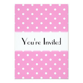 White Dots, Pink Polka Dots Pattern. 13 Cm X 18 Cm Invitation Card