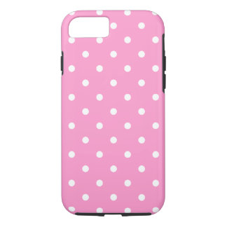 White Dots, Pink Polka Dots Pattern. iPhone 8/7 Case