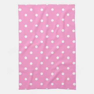 White Dots, Pink Polka Dots Pattern. Tea Towel