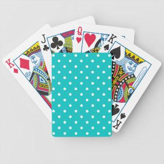 White dots, Teal Polka Dot Pattern. Bicycle Playing Cards