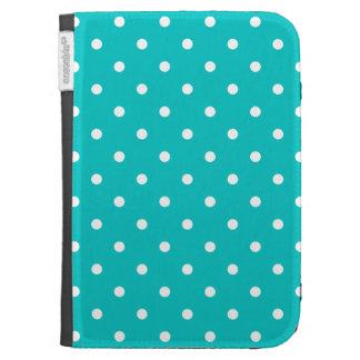 White dots, Teal Polka Dot Pattern. Kindle Keyboard Case