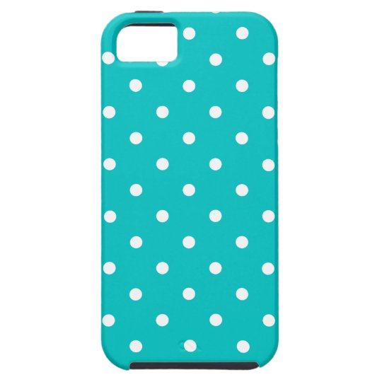 White dots, Teal Polka Dot Pattern. Case For The iPhone 5