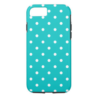 White dots, Teal Polka Dot Pattern. iPhone 8/7 Case