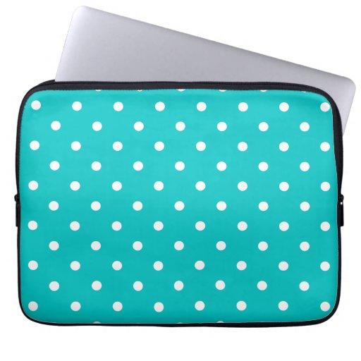 White dots, Teal Polka Dot Pattern. Laptop Sleeve