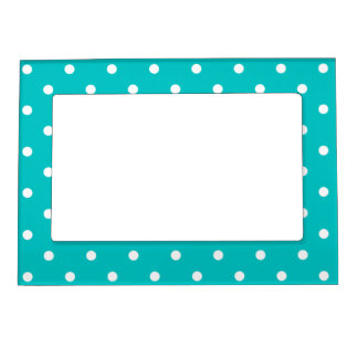 White dots, Teal Polka Dot Pattern. Magnetic Picture Frames