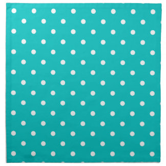 White dots, Teal Polka Dot Pattern. Napkin