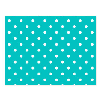 White dots, Teal Polka Dot Pattern. Postcard
