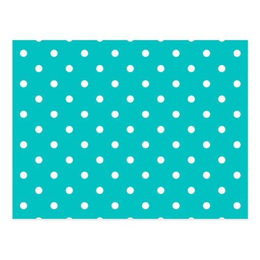 White dots, Teal Polka Dot Pattern. Postcard