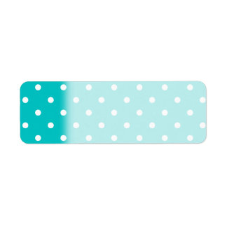 White dots, Teal Polka Dot Pattern. Return Address Label