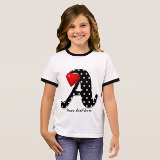 White Dotted Black Alphabet with Red Heart Ringer T-Shirt