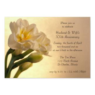 White Double Daffodil Anniversary Party Invitation