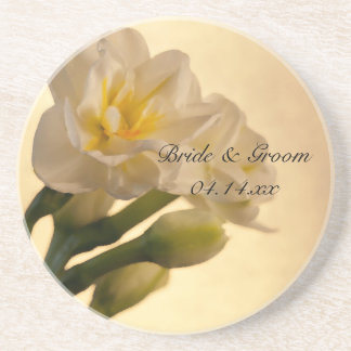 White Double Daffodils Spring Wedding Coaster