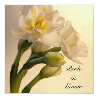 """White Double Daffodils Wedding Invitation 5.25"""" Square Invitation Card"""
