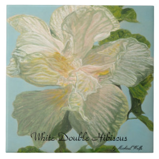 White Double Hibiscus Tile