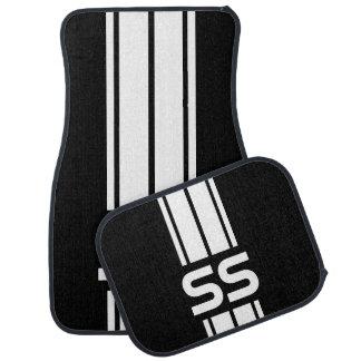 White Double Race Stripes | Personalize Floor Mat