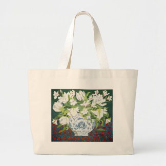 White double tulips and alstroemerias 2013 large tote bag