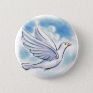 white dove 6 cm round badge