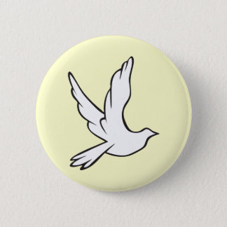 White Dove 6 Cm Round Badge