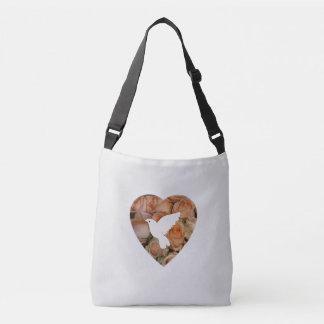 White Dove And Heart Crossbody Bag