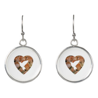 White Dove And Heart Earrings