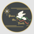 White Dove Carrying Olive Branch With Ribbons Classic Round Sticker