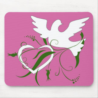White Dove & Heart Mouse Pad