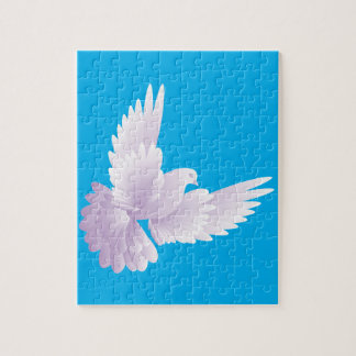 white dove in blue sky 3 jigsaw puzzle