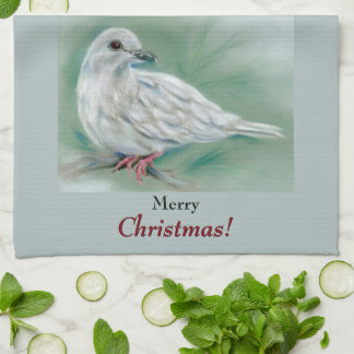 White Dove in the Pine Christmas Tea Towel