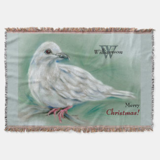 White Dove in the Pine Personalized Christmas Throw Blanket