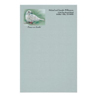 White Dove in the Pine Personalized Winter Holiday Stationery